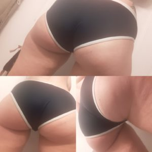 A photo composed of three frames; all three comprised of close up images of Taylor's thighs and butt, clad just in a small navy bathing suit with white piping.