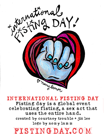 Interantional Fisting Day graphic featuring a closed fist coming out of a heart that is shaped like a vulva