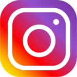 The instagram logo of a camera. It's purple in the top right, then orange, then yellow in the bottom left.