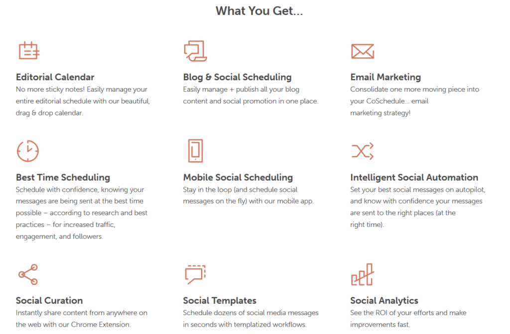 A chart showing what CoSchedule's Essential plan comes with: Editorial Calendar, Blog & Social Scheduling, Email Marketing, Best Time Scheduling, Mobile Social Scheduling, Intelligent Social Automation, Social Curation, Social Templates, and Social Analytics