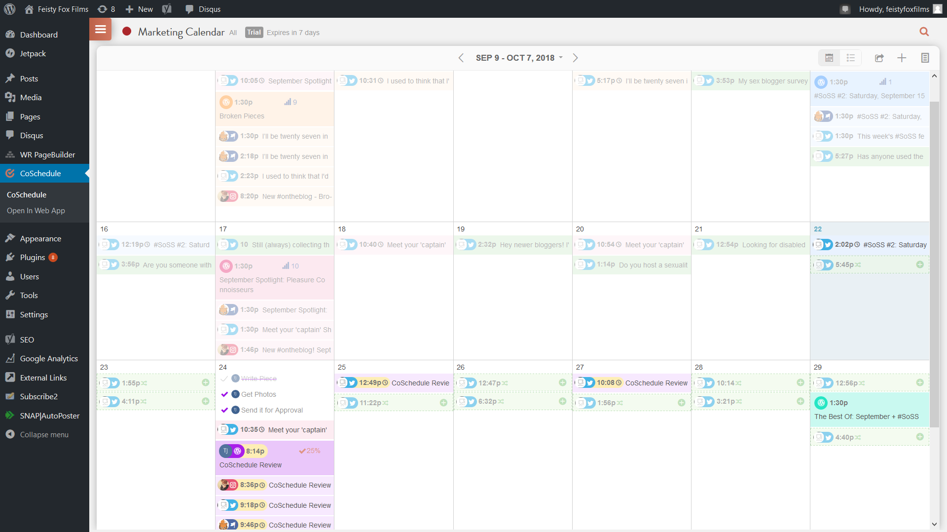 Three weeks of a colour-coded CoSchedule calendar with blog posts, social media, tasks to do, and requeue slots