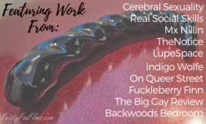 "A Fucking Sculptures Corkscrew sits on a glittery red surface. There's text over the image reading ""Featuring Work From: Cerebral Sexuality, Real Social Skills, Mx Nillin, TheNotice, LupeSpace, Indigo Wolfe, On Queer Street, Fuckleberry Finn, The Big Gay Review, Backwoods Bedroom"""