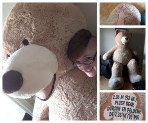 A grid of images separated by thick white lines. Left is Taylor's head next to a huge stuffed bear. Their head is closely shaved on the side and they have a huge grin. Right on the top is one of the bear's paws underneath Taylor's hand, making it look tiny. Right middle is the bear sitting up, showing how huge it is. Right bottom is a tag noting the bear as being 2.36 meters tall