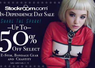 up to 50% off select estim, bondage gear, and chastity from Stockroom