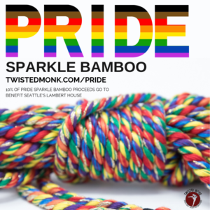 Pride sparkle bamboo rope from Twisted Monk. 10% of proceeds go to Seattle's Lambert House