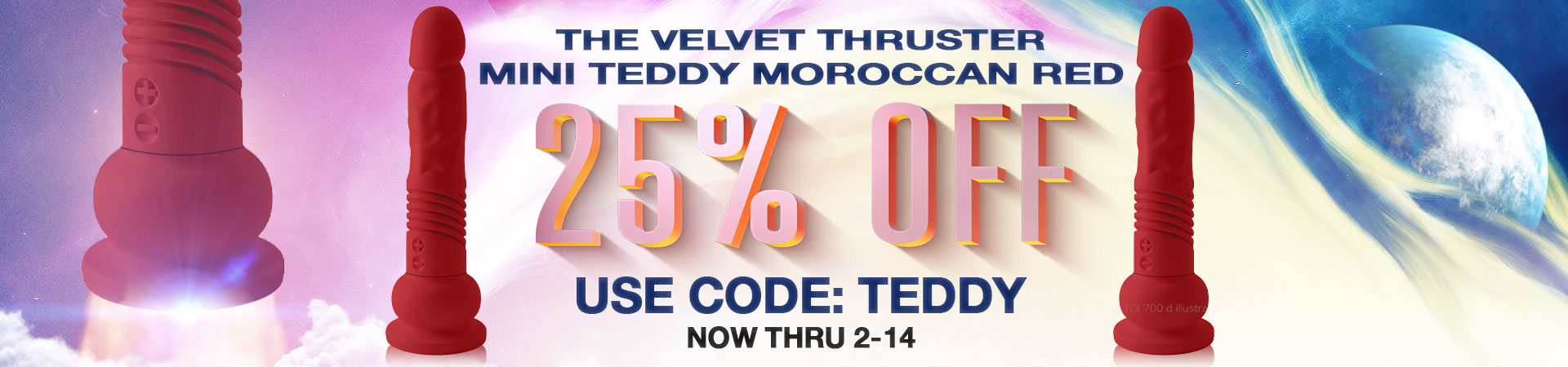 the velvet thruster mini teddy moroccan red 25% off use code: TEDDY now through 2/14
