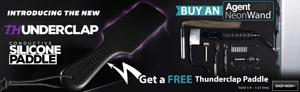 Get a free thunderclap paddle with the purchase of an Agent Noir NeonWand. Offer valid 1/9-1/23 only